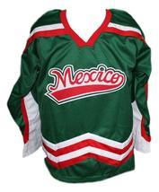 Custom Name # Mexico Retro Hockey Jersey New Green Any Size image 3