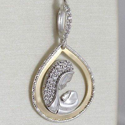 PENDENTIF MÉDAILLE A GOUTTE OR JAUNE BLANC 750 18K, Marie Gesù, stylisé