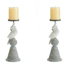 2 White Cockatoo Parrot Pillar Candle Holder Stands Tropical Decor - $37.45