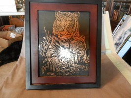 Framed Drawing Tiger with Baby Tigers Hand Drawn Copper on Black - $29.69
