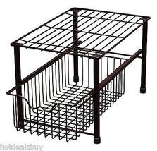Sliding Basket Shelf Stackable Under Sink Cabinet Storage Rack Organizer... - $41.58
