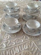 Johann HAVILAND Set of 6 Footed Cup&Saucer Set Blue Garland Bavarian Bac... - $74.25