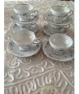 Johann HAVILAND Set of 6 Footed Cup&Saucer Set Blue Garland Bavarian Bac... - $74.25