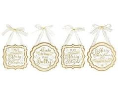 Burton and Burton 9731442 White/Gold Plaque Christmas Ornament Set, Mult... - $38.98