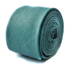 Frederick Thomas mens skinny sea green turquoise linen tie FT1647