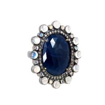 Sapphire Gemstone 14k Gold Ring .925 Silver Pave Diamond Moonstone Vintage Style - $522.40