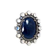 Sapphire Gemstone 14k Gold Ring .925 Silver Pave Diamond Moonstone Vinta... - $522.40