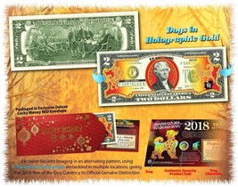 USA $2 Dollar Bill 2018 Chinese New Year Of THE DOG Gold Hologram Certif... - $19.62