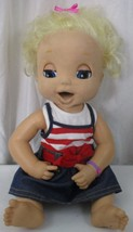 Baby Alive 2006 Doll Soft Face Interactive Blonde Works Mouth Talks Eyes Blink - $89.09
