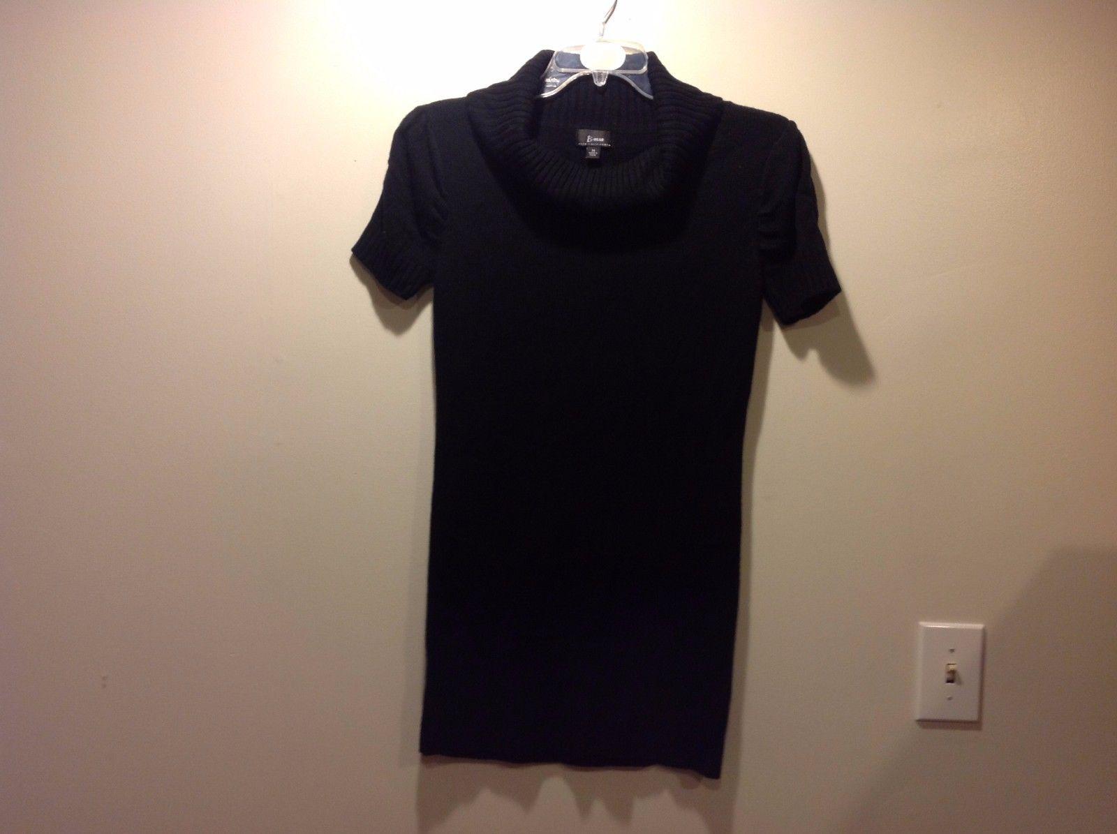 Cozy Black Short Sleeved Turtleneck Sweater Dress by B Wear Sz M