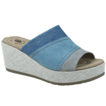 Earth Origins Suede Wedge Slip On Sandals Padded Insole MYRA Frost Gray ... - $47.95