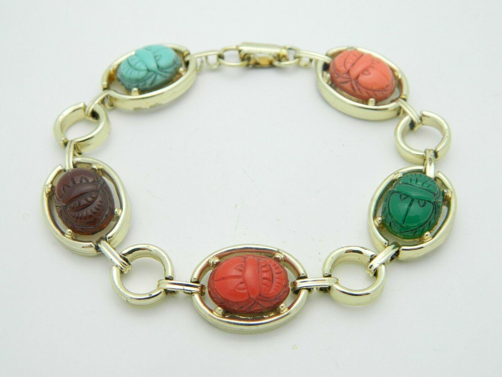 Multi-Color Lucite Carved Egyptian Scarab Gold Tone Bracelet Vintage