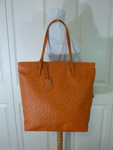 NWT FURLA Mandarin Orange Ostrich Embossed  Leather NS D-light Tote Bag ... - $295.02