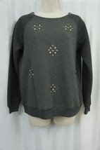 Sanctuary Sweater Top Sz S Charcoal Grey Rhinestone Embellished Quilted ... - €28,70 EUR