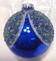 Christmas Ornament Blown Glass Jeweled Cobalt Blue Ball New - $10.84