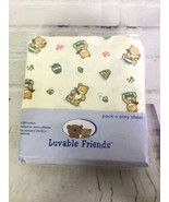 Luvable Friends Pack N Play Sheet Tan Teddy Bear Honey Bees Knit Cotton Unisex - $24.74