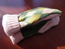 Kelly Green Argyle Wool Sweater mittens Handmade  one size fits most - $22.30
