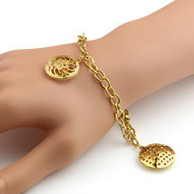 United Elegance Stylish Gold Tone Bracelet With Open Cut Out Designed Charms - $9.99