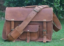 """New Men's Handmade 15"""" Brown Laptop Vintage Soft Leather Look Office For... - $65.08"""