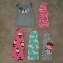 5 Pairs Carter's Fleece Footie Pajamas Lot Girls Sizes 24 Months Pink Pu... - $27.67