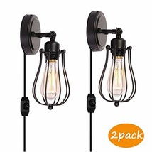 Kingmi Wire Cage Industrial Wall Sconce Plug-in Wall Light Shade Vintage Style E