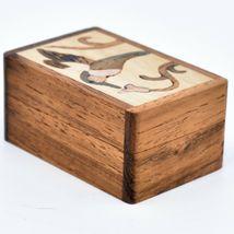 Northwoods Wooden Parquetry Hummingbird Bird at Flower Mini Trinket Box image 4