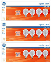 Lot of 12x General Electric 40w G25 Incandescent Light Bulbs Crystal Clear