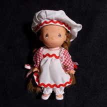 "Precious Moments Mini Doll Red Braids Gingham Dress 4"" Rose Art 1996 - $14.84"