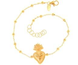 18K YELLOW GOLD BRACELET, 2 MM SPHERES, CENTRAL SACRED HEART OF JESUS - $427.68