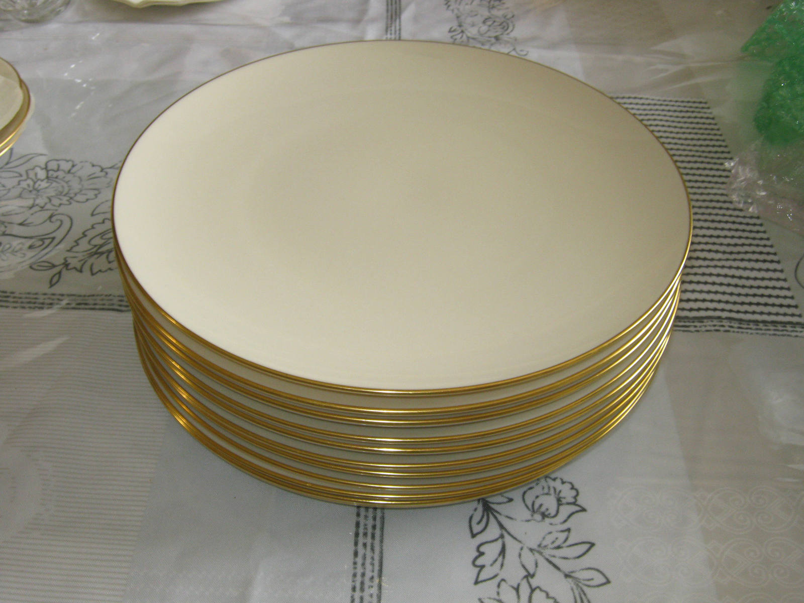 Lenox Olympia Gold X303 17 - 10 3/8  Dinner Plates Made in USA & Lenox Olympia Gold X303 17 - 10 3/8