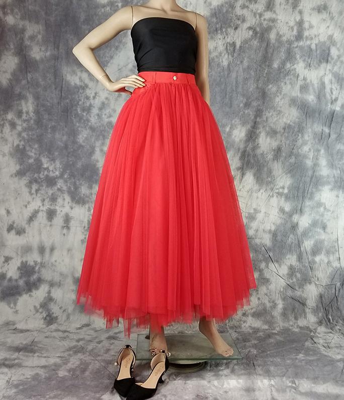 Long tulle skirt red 2