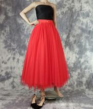 Women Red Long Tulle Skirt High Waist Tulle Skirt with Pockets Tulle Party Skirt image 3
