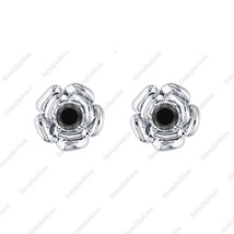 Rose Flower Earring Black Diamond 14k White gold Over 925 Sterling Silve... - $39.99