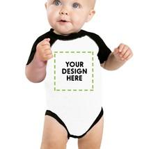 Custom Personalized Baby Black And White Baseball Shirt - $20.99