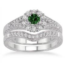1.5 Carat Emerald & Sim Diamond Antique Floral Bridal set 14k White Gold Finish  - $99.99
