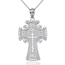 Sterling Silver ICXC NIKA Eastern Orthodox CZ Cross Pendant Necklace - $19.99+