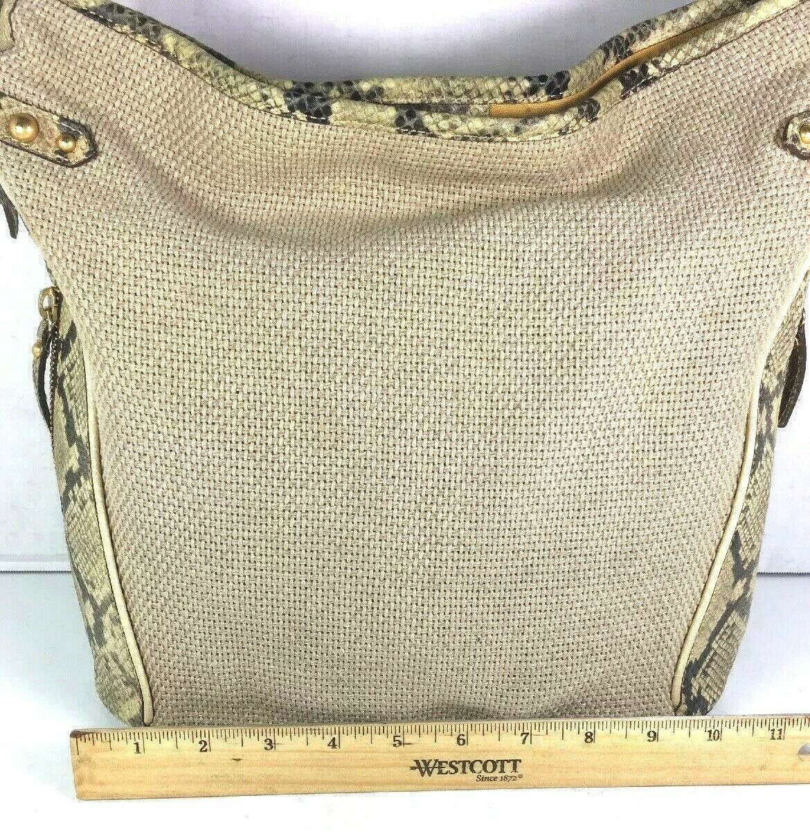 Brahmin Beige Fabric and Reptile Print Trim Shoulder Bag- Well Worn image 6
