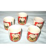 BEAUTIFUL SET OF 5 VINTAGE JAPANESE CERAMIC SOMO SAKE SAKI CUPS - $24.99