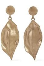 KENNETH JAY LANE KJL 22 karat Gold Plated hammered leaves Drop dangle Ea... - $64.35