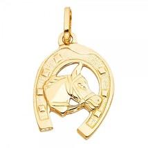 14K Yellow Gold Unisex Lucky Horseshoe Pendant - $149.99