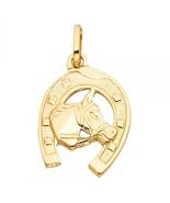 14K Yellow Gold Unisex Lucky Horseshoe Pendant - $179.99