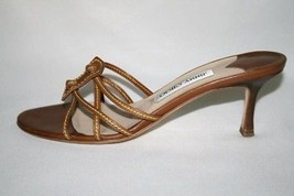 JIMMY CHOO Brown Leather Strappy Heel Sandal Size 37-1/2  7.5 - $179.00