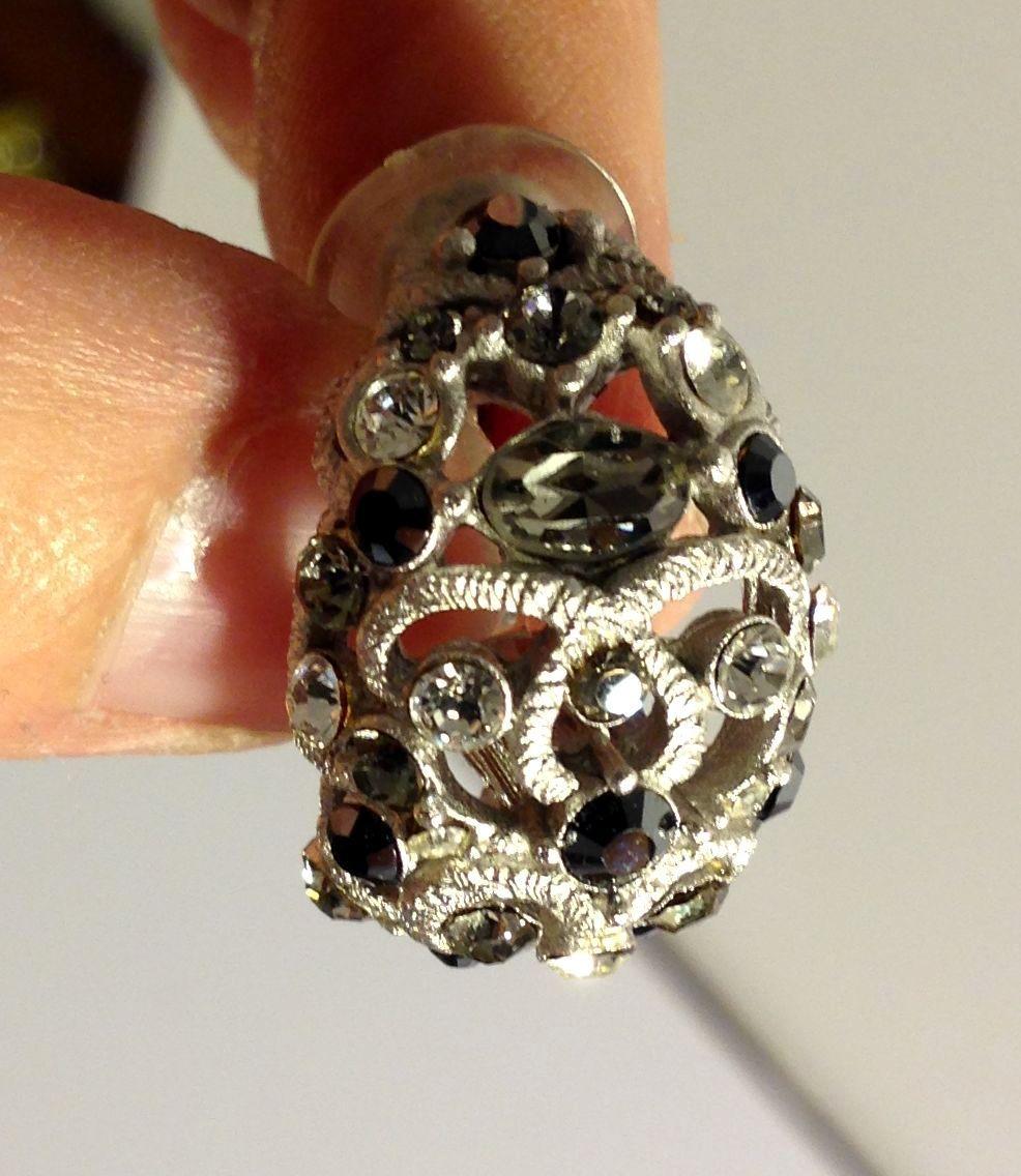 VTG Silvertone Filigree *Smoke/Black/Clear Rhinestones Cluster Pierced Earrings image 5