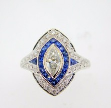 18k Gold .65ct Genuine Natural Diamond Ring with Halo Blue Sapphires (#J... - $2,050.00