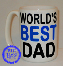 World's Best Dad Big 15 Oz Mug Can Personalise Great Father's Day Daddy ... - $12.14