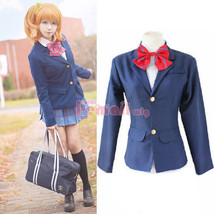 Love Live Girl's School Uniform Blue Suit Blazer Cosplay Costumes Coat Outw - $39.56