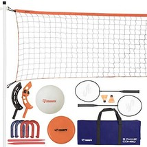 Triumph Five Outdoor Games Combo Set Includes Badminton, Volleyball, Hor... - $34.23