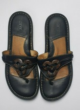 Born Black Button Accent Flip Flop Leather Comfort Sandals Women Euro 40.5 US 9 - $13.21