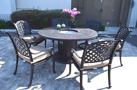 Propane fire pit table 7 pc Nassau patio dining set outdoor aluminum grills.  image 2