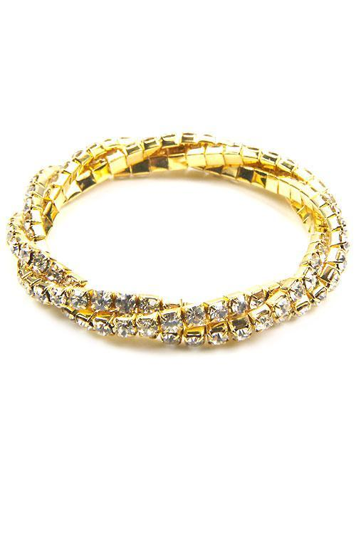 Gold Twisted Stretch Crystal Bracelet, Silver Rhinestone Stretchable Bracelet
